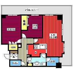 レジディアタワー仙台 14階2LDKの間取り