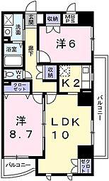 JR山陽本線 姫路駅 バス20分 青山出屋敷下車 徒歩3分の賃貸マンション 3階2LDKの間取り