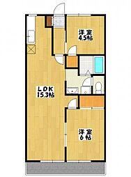 リバティハウスA棟[2階]の間取り