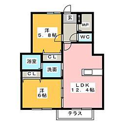 セイフフラット B[1階]の間取り