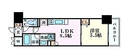 Ponte Cielo 7階1LDKの間取り