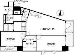 大阪府大阪市中央区谷町2丁目の賃貸マンションの間取り