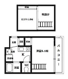エステムコート新大阪Vソレックス[6階]の間取り