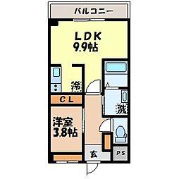 メゾン唯 1階1LDKの間取り