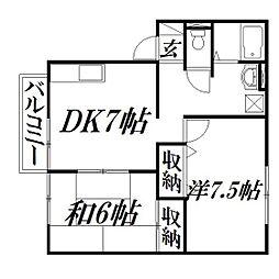 静岡県浜松市東区長鶴町の賃貸アパートの間取り