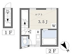 Bハウス東大井 2階ワンルームの間取り