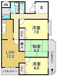 種村マンション5番館[3階]の間取り