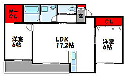 Taormina新宮 3階2LDKの間取り