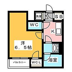 ザ・レジデンス・オブ・トーキョーT12 3階1Kの間取り