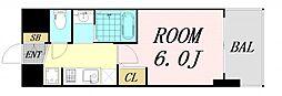 エステムコート難波サウスプレイス6ラグジー 11階1Kの間取り