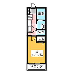リブリ・さいたま新都心 3階1Kの間取り