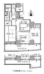 アクティ汐留 29階2DKの間取り