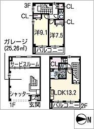 [タウンハウス] 愛知県名古屋市北区喜惣治1丁目 の賃貸【/】の間取り