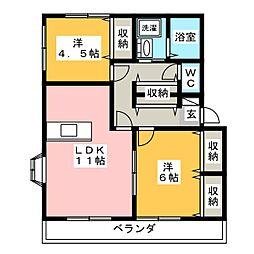 ピュアハイツC[2階]の間取り
