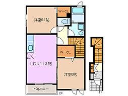 三重県四日市市山城町の賃貸アパートの間取り