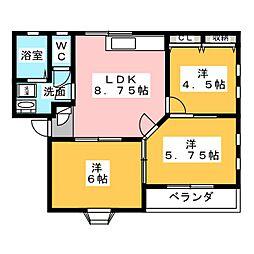 メゾン・ド・ベル II[2階]の間取り