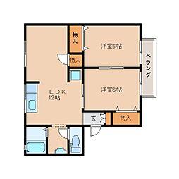 奈良県桜井市西之宮の賃貸アパートの間取り