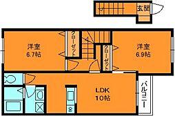 奈良県香芝市磯壁2丁目の賃貸アパートの間取り