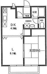 神奈川県横浜市緑区長津田みなみ台5丁目の賃貸アパートの間取り