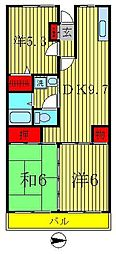 千葉県松戸市大金平2丁目の賃貸マンションの間取り