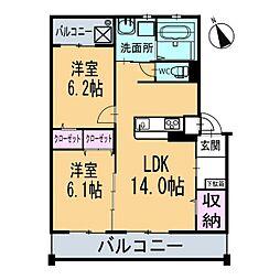 新築ベルカーサH・S[302号室]の間取り