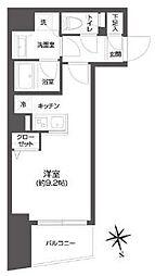 都営大江戸線 牛込柳町駅 徒歩3分の賃貸マンション 10階ワンルームの間取り
