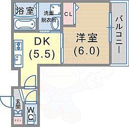 阪急神戸本線 王子公園駅 徒歩10分の賃貸アパート 2階1DKの間取り