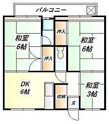 ビレッジハウス鈴蘭台[4階]の間取り