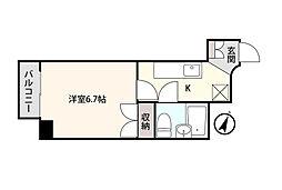 アシスト第3富山マンション 3階1Kの間取り