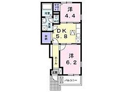 兵庫県神戸市垂水区泉が丘5丁目の賃貸アパートの間取り