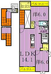 千葉県流山市加2丁目の賃貸アパートの間取り