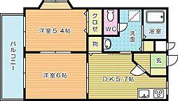 プレジデントタカヤVI B棟[103号室]の間取り
