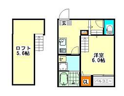 名古屋市営東山線 中村公園駅 徒歩11分の賃貸アパート 1階1SKの間取り
