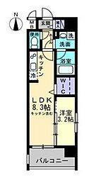 岡山電気軌道清輝橋線 東中央町駅 徒歩3分の賃貸マンション 8階1LDKの間取り
