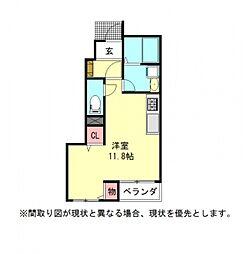愛知県一宮市貴船2丁目の賃貸アパートの間取り