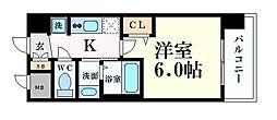 Osaka Metro中央線 阿波座駅 徒歩5分の賃貸マンション 12階1Kの間取り