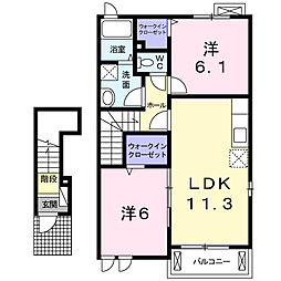神奈川県厚木市愛甲東3丁目の賃貸アパートの間取り