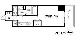 プレサンス江戸堀 15階1Kの間取り