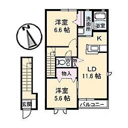 シャーメゾン大山[B203号室]の間取り