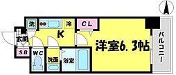 エスリード京橋グランツ 12階1Kの間取り