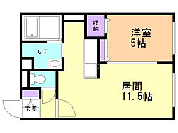 モルティーニ麻生II 4階1LDKの間取り