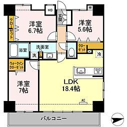 GLANZ  Kyoei  VI(グランツ キョーエイ6)[7階]の間取り