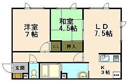 北海道小樽市最上1丁目の賃貸アパートの間取り