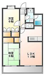 静岡県静岡市葵区籠上の賃貸マンションの間取り
