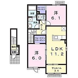 富山県富山市荒川常盤台の賃貸アパートの間取り
