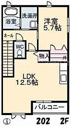 広島電鉄宮島線 井口駅 徒歩5分の賃貸アパート 2階1LDKの間取り