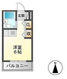 ヤマトビル 3階ワンルームの間取り