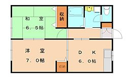 JR鹿児島本線 福間駅 バス7分 東町下車 徒歩3分の賃貸アパート 1階2DKの間取り