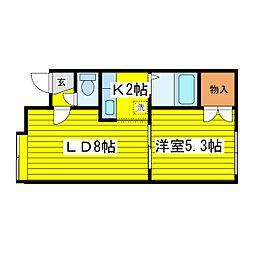 北海道札幌市東区北十六条東14丁目の賃貸アパートの間取り