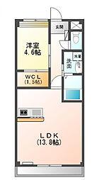 泉北高速鉄道 栂・美木多駅 徒歩10分の賃貸マンション 2階1LDKの間取り